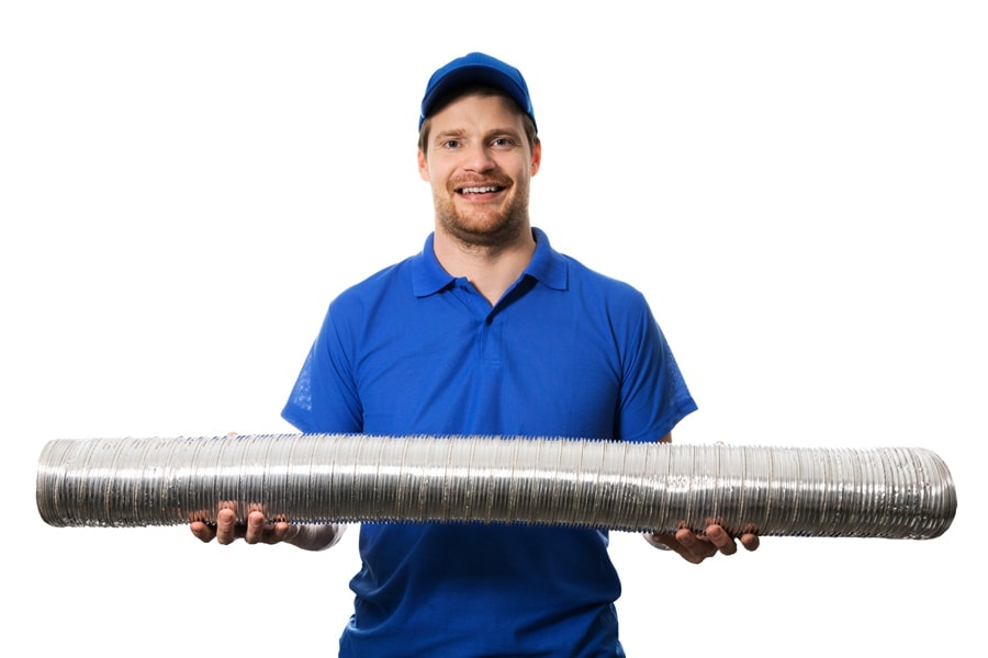 HVAC worker with flexible ventilation system tube in hands. What are signs I need a new furnace?