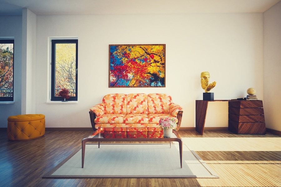 Clean Autumn living room representing your great fall indoor air quality